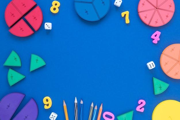 Vista dall'alto frazioni di matematica e scienza con spazio di copia Foto Premium
