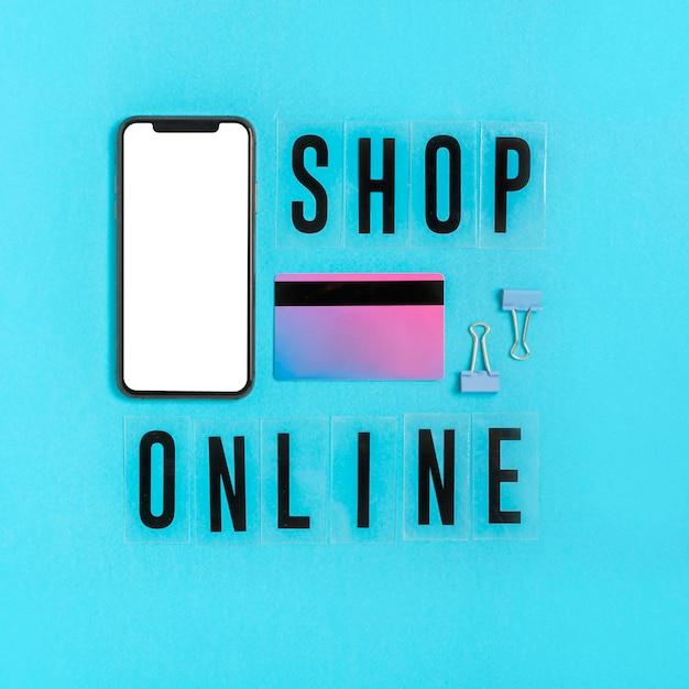 Concetto di shopping online vista dall'alto Foto Premium