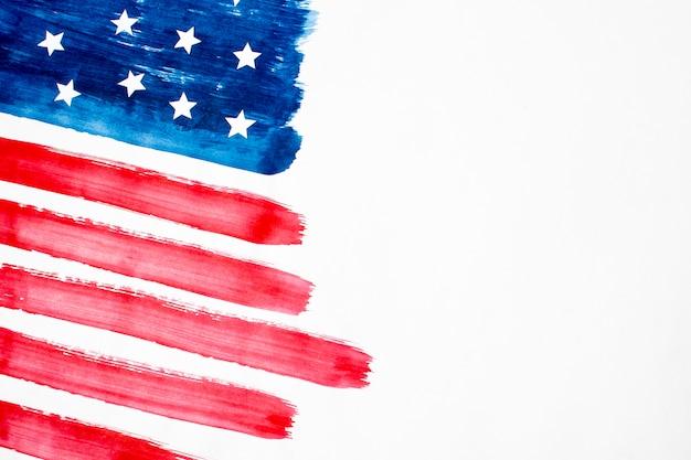 Bandiera degli sua dell'acquerello di vista superiore con copia-spazio Foto Premium