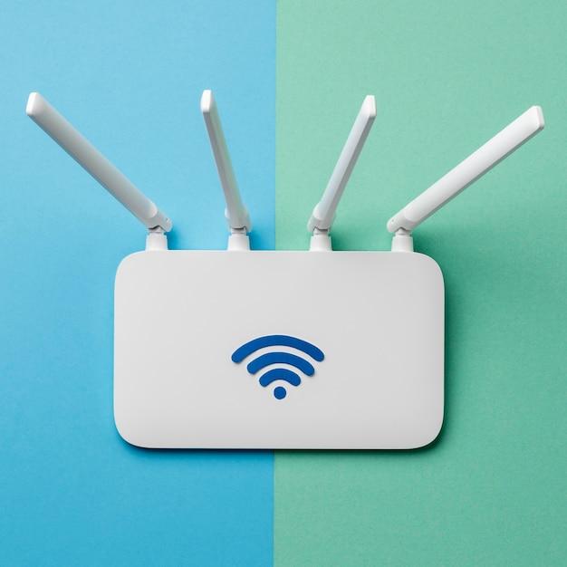 Vista dall'alto del router wi-fi Foto Premium