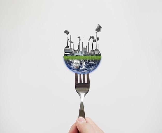 Alimenti tossici e alimenti di contaminazione dal concetto di inquinamento. elemento di questa immagine è fornito dalla nasa Foto Premium