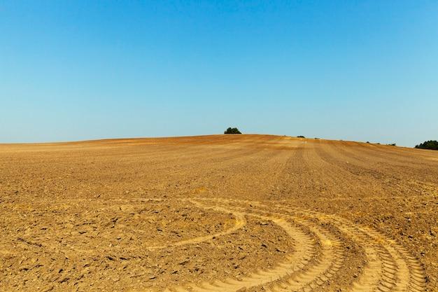 Tracce dal campo agricolo arato a ruota rimanenti dopo l'attrezzatura speciale, il cielo azzurro sullo sfondo Foto Premium