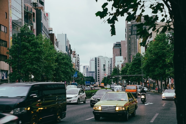 Traffico in una giornata uggiosa in città Foto Premium