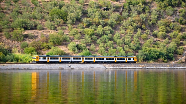 Treno che corre parallelo al fiume e si riflette nell'acqua Foto Premium