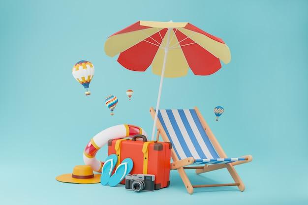 Borse da viaggio utilizzate nel turismo completo di pantofole, macchina fotografica, sedie e ombrelloni. Foto Premium