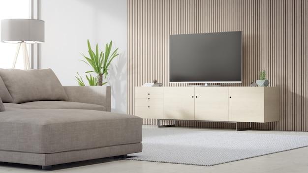 Porta tv vicino alla parete di legno del luminoso soggiorno e divano contro la televisione in casa moderna o appartamento. Foto Premium