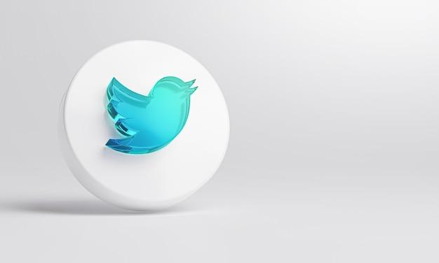 Twitter icona in vetro acrilico su sfondo bianco rendering 3d. Foto Premium