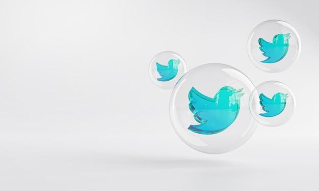 Twitter icona acrilica all'interno del vetro della bolla copia spazio 3d Foto Premium