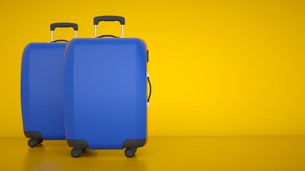 Due carrelli da viaggio blu Foto Premium