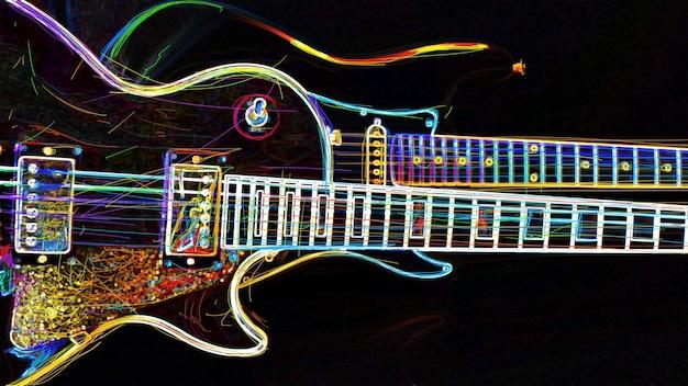 Due chitarre elettriche. pittura al neon di colore astratto. Foto Premium