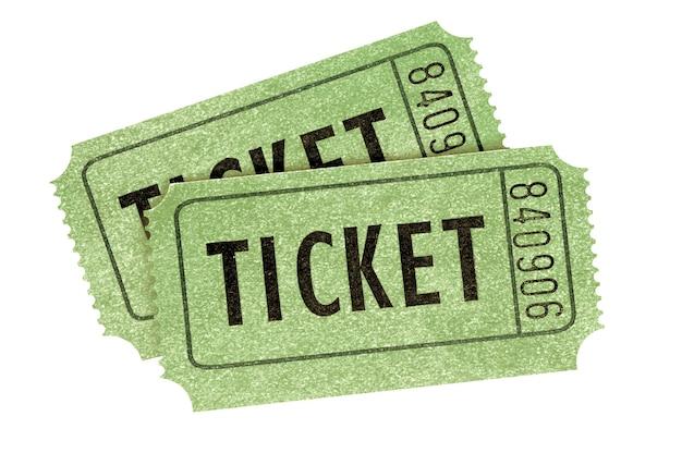 Due vecchi biglietti per il cinema retrò verdi isolati Foto Premium