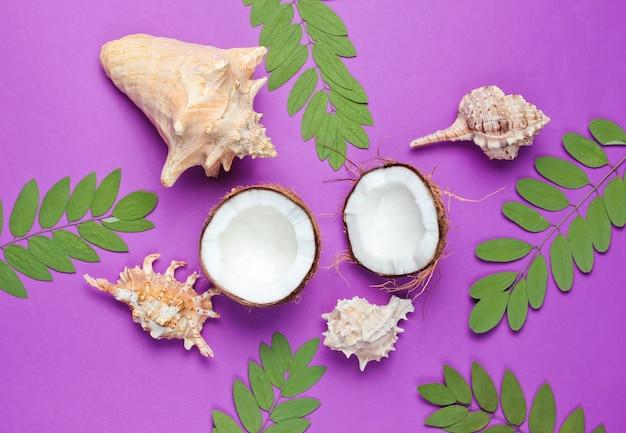 Due metà della noce di cocco tritata su sfondo viola con foglie verdi e conchiglia Foto Premium