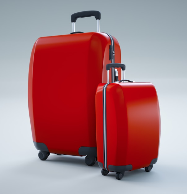 Due borse da viaggio rosse isolate su bianco luminoso. rendering 3d Foto Premium