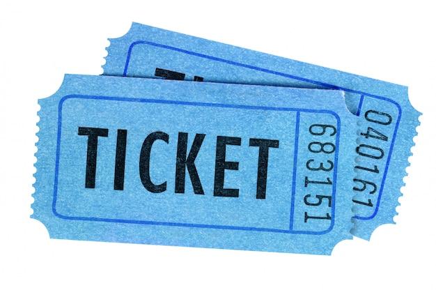 Vista frontale blu di due biglietti isolata Foto Premium