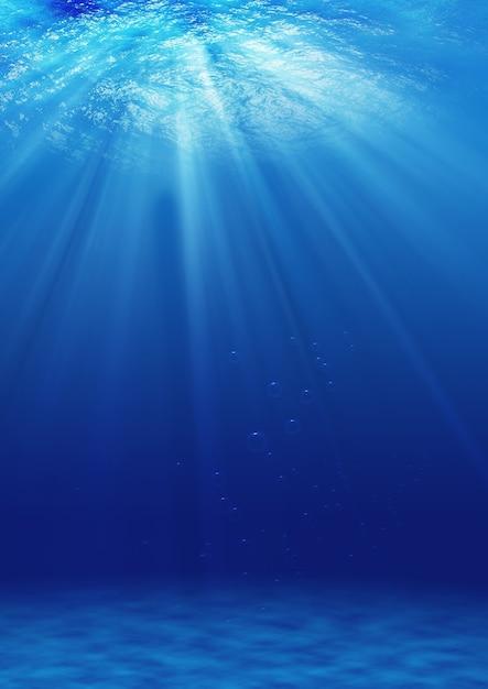 Fondo sottomarino. sopra la luce Foto Premium