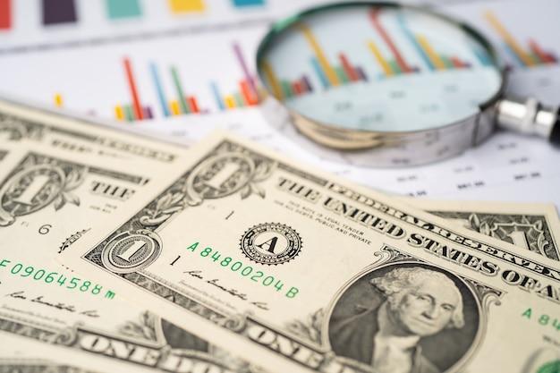 Soldi delle banconote del dollaro usa su carta millimetrata. Foto Premium