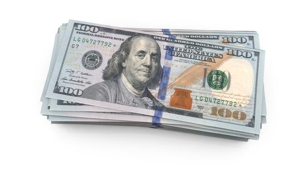 Us un centinaio di dollari americani bill close up rendering 3d Foto Premium