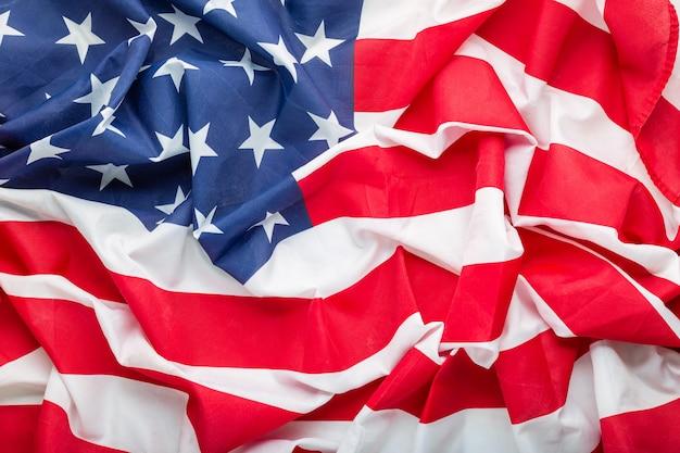 Sfondo bandiera usa. memorial day degli stati uniti o 4 luglio. closeup trama bandiera degli stati uniti d'america o bandiera degli stati uniti. Foto Premium