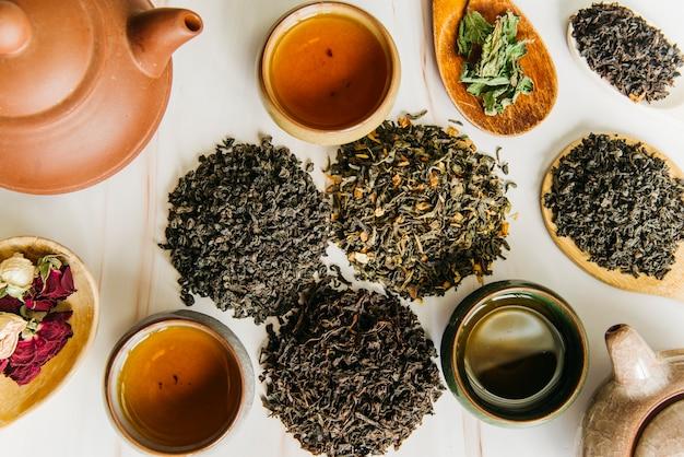 Varietà di foglie di tè secche e fiori di rosa con tazze da tè e teiera di argilla su sfondo con texture Foto Premium