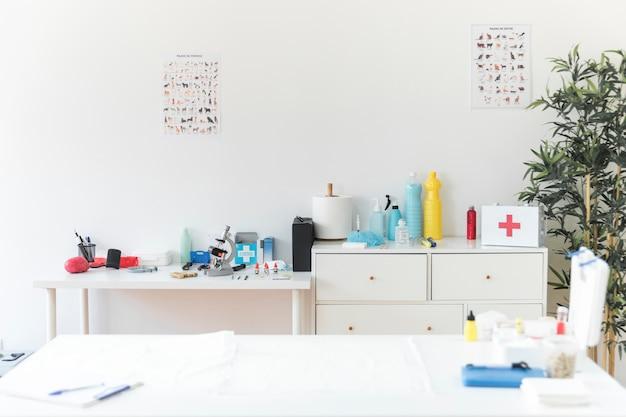 Clinica veterinaria con attrezzature mediche Foto Premium