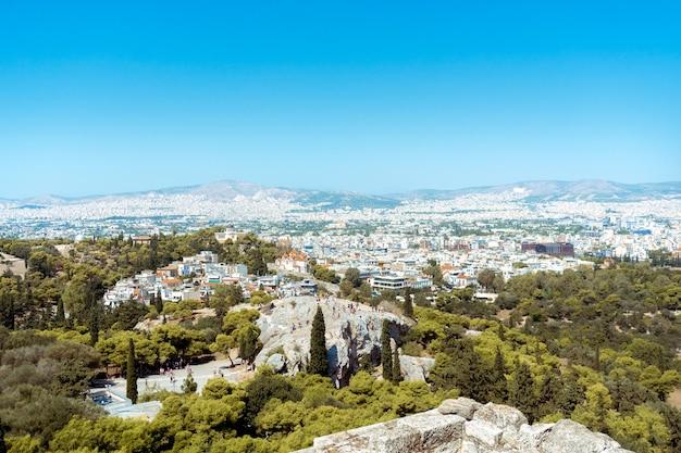 Vista della città di atene nel pomeriggio Foto Premium