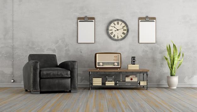 Soggiorno vintage con poltrona nera e vecchia radio sul tavolino. rendering 3d Foto Premium