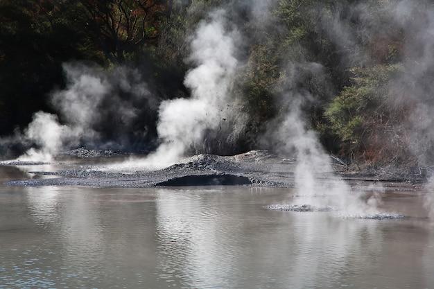 Parco geotermico wai-o-tapu di rotorua in nuova zelanda Foto Premium