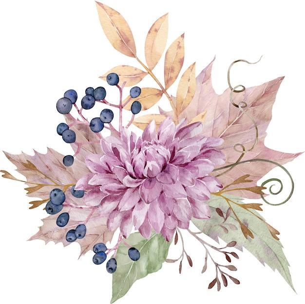 Bouquet floreale di caduta dell'acquerello. Foto Premium