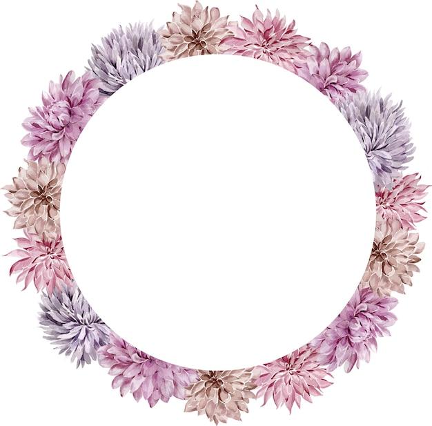 Cornice cerchio floreale dell'acquerello. caduta aster e dalia corona isolata su uno sfondo bianco. cornice fiore viola. Foto Premium