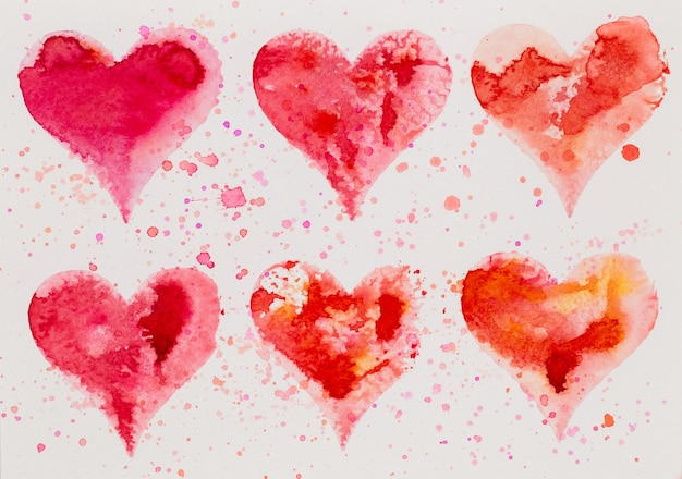 Cuore dell'acquerello. carta di san valentino greating, amore, relazione, arte, pittura. Foto Premium