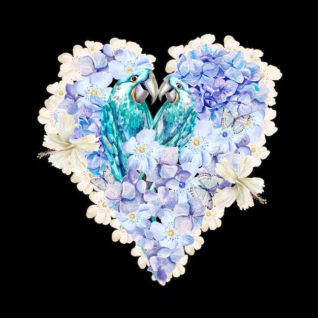 Cuore dell'acquerello con pappagalli e fiori di ortensie Foto Premium