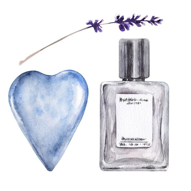 Illustrazione dell'acquerello con varie fiala, fiori aromatici e cuore blu Foto Premium