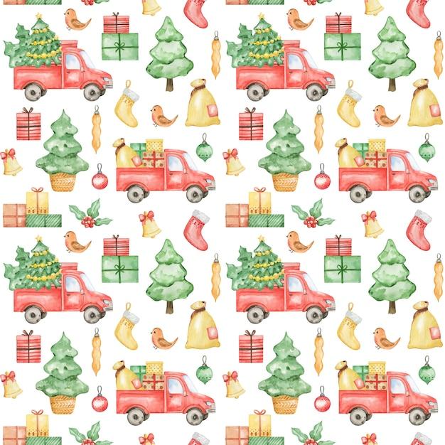 Acquerello modello nuovo anno 2021, sfondo di buon natale, motivo natalizio disegnato a mano, design tessile invernale, camion natalizio, albero di abete rosso, regalo, design pattern natalizio, carta da imballaggio Foto Premium