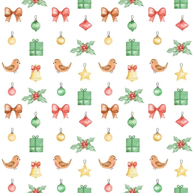 Acquerello modello nuovo anno 2021, sfondo di buon natale, motivo natalizio dipinto a mano, design pattern tessile invernale, uccello invernale, regalo, stella di natale, design pattern natalizio Foto Premium