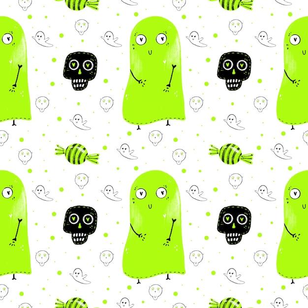 Reticolo dell'acquerello di fantasmi verdi, dolci e teschi Foto Premium