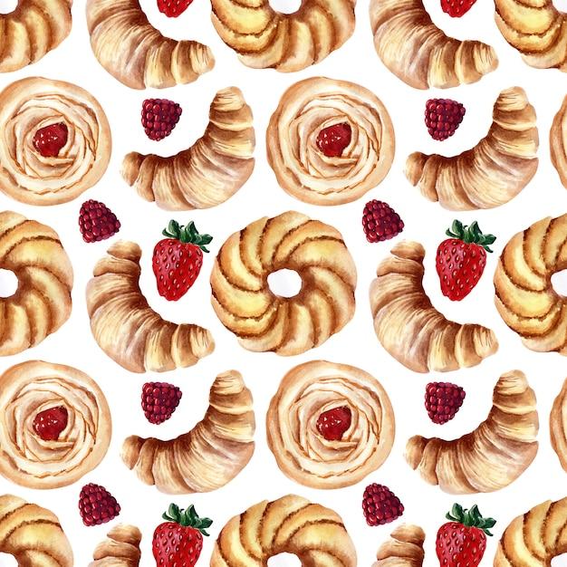 Reticolo senza giunte dell'acquerello con panini, cupcakes alla panna e fragole mature, lamponi e ciliegie Foto Premium