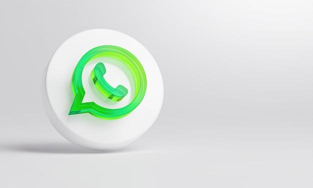 Whatsapp icona in vetro acrilico su sfondo bianco rendering 3d. Foto Premium