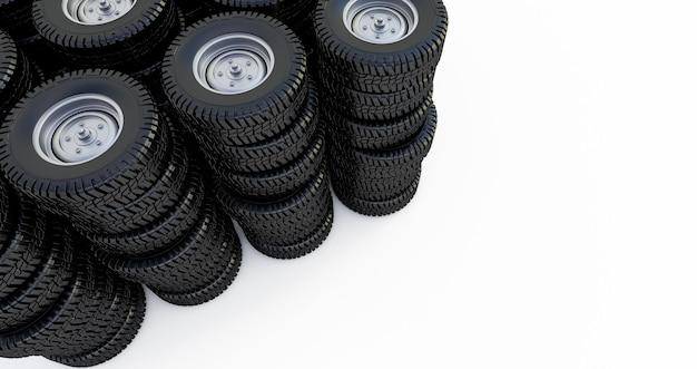 Ruote isolate su uno spazio bianco. pneumatici invernali. rendering 3d Foto Premium