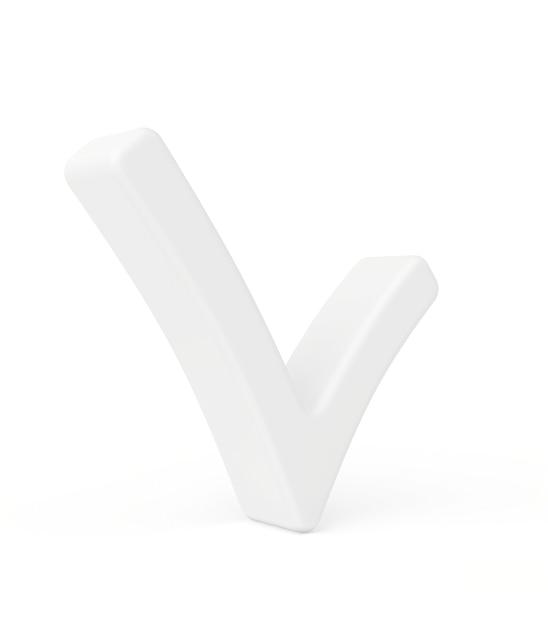 Segno di spunta bianco. rendering 3d su uno spazio bianco. Foto Premium