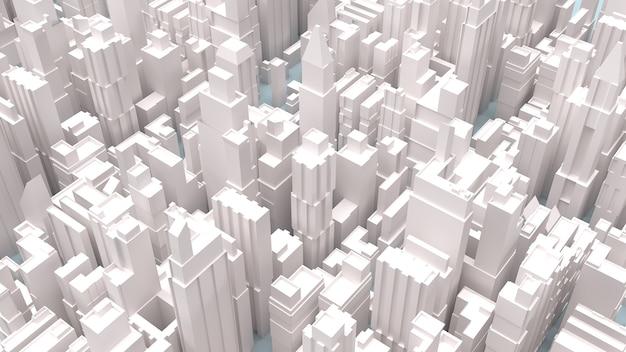 La rappresentazione 3d degli edifici della città bianca Foto Premium