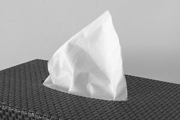 Tovagliolo bianco secco. avvicinamento Foto Premium