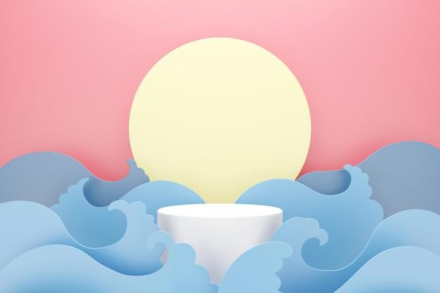 Podio bianco con onda di acqua blu e luna su sfondo rosa, spazio per il testo e il concetto di pubblicità del prodotto, rendering 3d Foto Premium