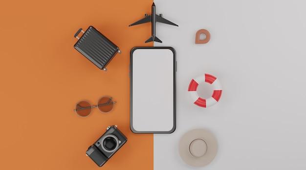 Mockup mobile con schermo bianco, anello in gomma da nuoto, aeroplano, cappello, valigia, macchina fotografica e occhiali da sole Foto Premium