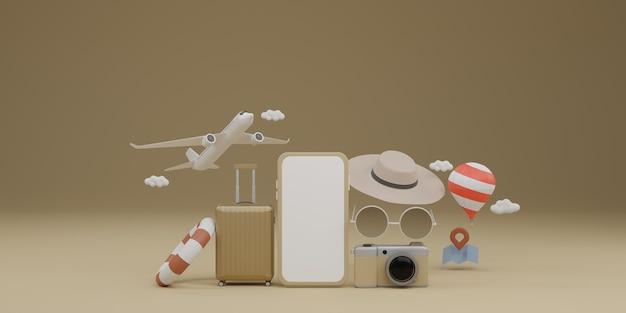 Mockup mobile con schermo bianco con aereo, palloncino, anello in gomma da nuoto, bagagli, occhiali da sole, cappello e fotocamera Foto Premium