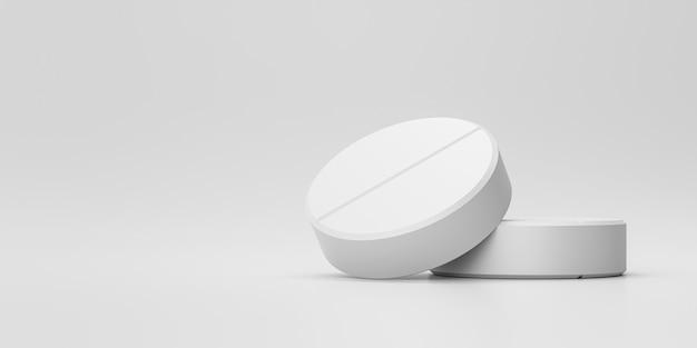 Compresse o antidolorifici bianchi con una farmacia su un fondo medico. pillole bianche per alleviare la malattia o la febbre. rendering 3d. Foto Premium