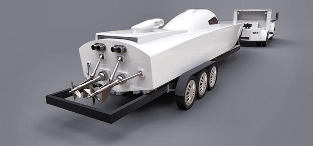 Camion bianco con un rimorchio per il trasporto di una barca da corsa su uno spazio grigio. rendering 3d. Foto Premium