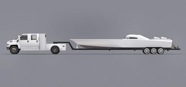 Camion bianco con un rimorchio per il trasporto di una barca da regata Foto Premium
