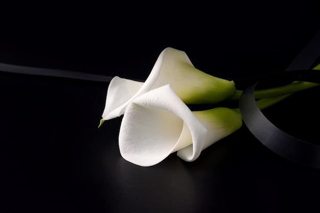 Fiori bianchi di zantedesia con nastro in lutto sul nero Foto Premium