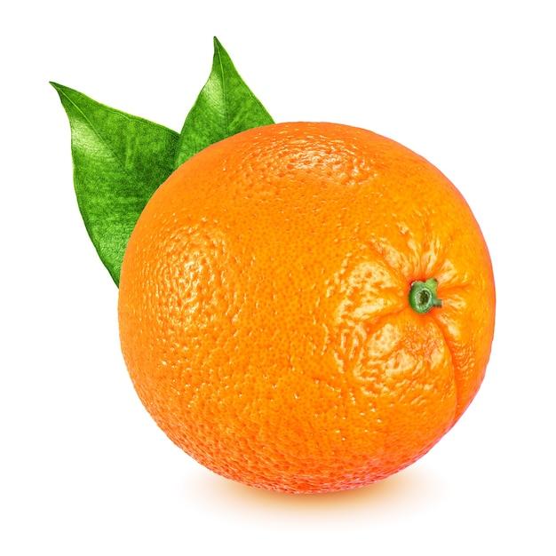 Tutta la frutta arancione matura con foglie isolate Foto Premium