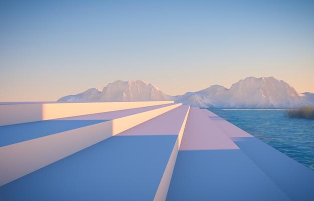 Scena invernale con forme geometriche, podio scala in vista lago Foto Premium